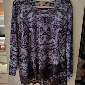 Long sleeve top with lace detail